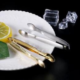 abrazaderas de acero Rebajas 50 unids / lote pinzas de pinza de azúcar de acero inoxidable Clip Ice Cube Coffee Bar Buffet plata herramienta de cocina de oro 10 cm FFA1490