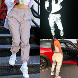 8d676f30a44 2019 New Fashion Womens Ladies Reflective Luminous Elastic Waist High Waist  Baggy Pants Trousers Size S-L. Supplier  lvzhe