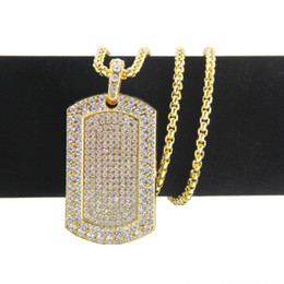 gold dog tags wholesale Coupons - High quality Hip hop necklace Dog tag Hip hop pendant necklace gold plated Cystal rhinestone pendant jewelry yiwu factory wholesale