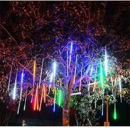 luces de navidad seguras Rebajas 8 tubo de luz al aire libre Meteor ingeniería impermeable del LED luces decorativas luces de la ducha de la linterna hueco de meteoros de doble cara