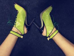 botas de renda de peep toe Desconto Abesire Mulher Verde Sólida Tira No Tornozelo Sandálias Botas Femininas Peep Toe Lace-up Ankle Boots Meninas Sapatos Slingback Senhora Curto