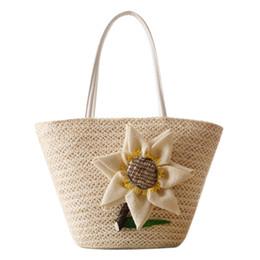Canada Sac de plage de paille d'été avec tournesol tissé à la main sacs de rotin Femme Voyage fourre-tout pour femmes sac bohème dames Offre