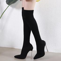 Botas de talla grande online-Más el tamaño 35 a 40 41 42 ajuste elástico delgado atractivo sobre el muslo de la rodilla botas altas zapatos de diseño están equipadas con caja