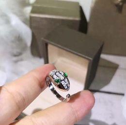 Forma de diamante de las mujeres online-Diseñador SERPENTI joyas anillo 925 plata esterlina oro rosa en forma de diamante piedra preciosa apertura serpiente anillo mujer lujo anillo de compromiso 3 color
