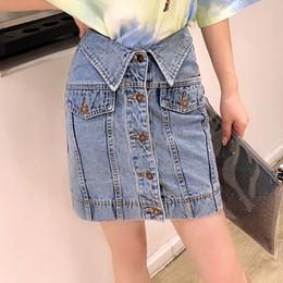 89eae77506e Sherhure 2019 Fashion Design High Waist Women Denim Mini Skirts Saia Single  Button Women A-Line Sexy Skirt Faldas Jupe Femme