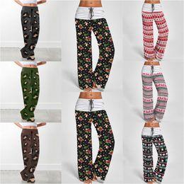 Pantalones de yoga con estampado de leopardo online-Navidad leopardo ancho Pantalón de pierna 7 estilos cómodo impresión con cordón Lounge pantalones flojos de la yoga Harem maternidad Bottoms OOA7226-6