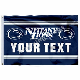 NCAA Penn State Nittany Lions SENİN METİN polyester Bayrak 3ft * 5ft (150 cm * 90 cm) Bayrak Banner dekorasyon uçan ev bahçe açık hediyeler nereden