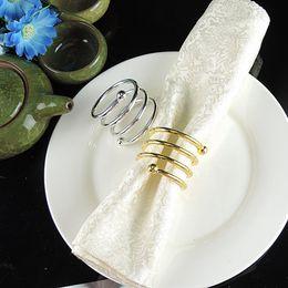Anelli di tovagliolo online-Doppia Bead Primavera portatovagliolo occidentale Tovagliolo Anello Oro Argento Color Hotel Casa Tavolo Trinkets RRA2116