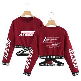 2019 ATEEZ kpop T-Shirt TXT coreano Estate T shirt crop top vestiti delle donne kpop manica lunga Moda top streetwear supplier summer korean women clothe da le donne coreane di estate rivestono fornitori