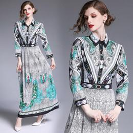 Toptan Yeni 2019 Güz Pist Çiçek Baskılı İnce Gömlek Maxi Elbiseler kadın Bayanlar Uzun Kollu A-Line Robe Casual Parti Elbise Vestidos nereden