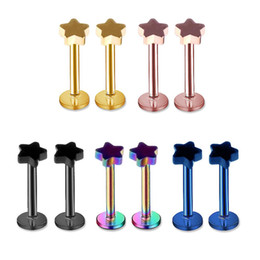 Orelha piercing studs estrela on-line-Atacado Estrela Labret Lip Chin Anel Nariz Ear Bar Stud Piercing De Aço Inoxidável Moda Jóias Corpo Frete Grátis
