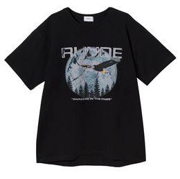 Tees limités en Ligne-19SS T-shirts Hommes Femmes 1r: 1 RHUDE Chicago Limited T-shirt à imprimé Aigle Style été RHUDE Top Tees