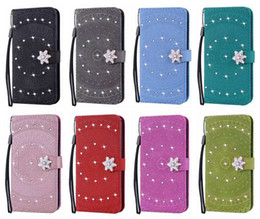 2019 caixa da carteira do diamante da flor Bling diamante datura flor carteira de couro case para iphone xr xs max x 8 7 6 5 tampa da aleta titular do telefone de girassol tampa flip bolsa magnética