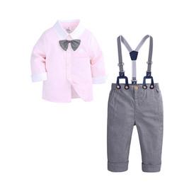 ea195eebf94 Boys outfits kids plaid Bows tie lapel long sleeve shirt+lattice suspender  pants 2pcs sets children birthday party performance clothes F5509