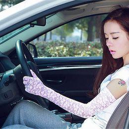 летние длинные перчатки Скидка Женские летние кружевные перчатки солнцезащитный УФ-защита вождения длинные перчатки рукавицы противоскользящие