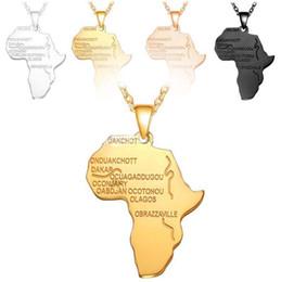 africa mappa pendente d'oro Sconti Africa Mappa Pendente Collana Platino / 18 K Reale / Oro Rosa / Nero Placcato Pistola Unisex Donna / Uomo Moda Ciondolo Stile Africano Hiphop Regalo gioielli