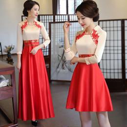 Vestidos de noche clásicos de china online-Estilo chino Mujeres Slim Cheongsam clásico mejorado Qipao Elegante vestido de fiesta de noche Vestidos de novia de dama de honor tradicionales