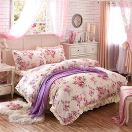 2020 взъерошенная покрывала 100% хлопок цветочного Ruffled Пододеяльник постельного набор размера Queen King ватного Ruffled Bedskirt Хлопок ватных Покрывала Подушка обманы скидка взъерошенная покрывала