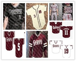 Красный номер трикотажные изделия бейсбола онлайн-Персонализированные трикотажные изделия для бейсбола в колледже штата Миссисипи Бульдоги белый красный черный любое число 15 Джейк Мангам 4 Rowdey Jersey S-4XL