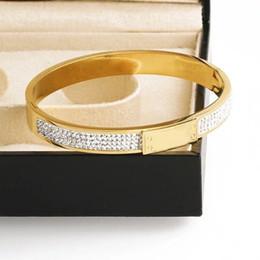 Armband persönlichkeit gold online-Neue Luxus Designer Schmuck Frauen Armreifen Silber Rose Gold Eingelegten Diamanten Edelstahl Armbänder Weibliche Persönlichkeit Schmuck Geschenk
