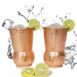 bicchieri di vino in rame Sconti Cocktail dell'acciaio inossidabile tazze di arredamento in vetro Moscow Mule tazza di rame martello Point Bar Wine Glasses partito epoca tazza dell'India FFA2280-1