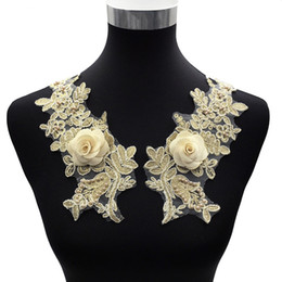 Perline applique per cucire online-New Gold 3D Flower Beaded Applique Dress Patch Sew on Appliques ricamati per abbigliamento Accessori di abbigliamento