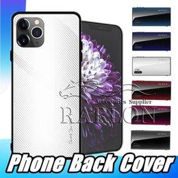 2019 max chocolats New Carbon Texture en verre trempé de cas pour l'iPhone 11 Pro Max XS Xr 8 7 cas couverture arrière pour Samsung Note 10 S10 plus S9 A10 A70 P30 Huawei