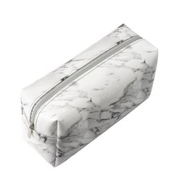grandes maquiagem zíperes casos Desconto Grande capacidade de protecção impermeável Makeup Pencil Case Bag Zipper Carry Pouch Marble Grain Mulheres portátil PU Leather Easy Clean