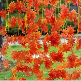 piante artificiali rosse Sconti Edera artificiale Red Leaf Garland Plant Vine Fake Foliage Flower Home Festival Decor Fiori decorativi all'ingrosso