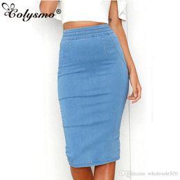 bfc77168e2d Colysmo Women Denim Skirts Plus Size High Waist Midi Skirt Summer Pencil Skirt  Jeans Lady Long Bodycon Denim Skirt Saia Midi New