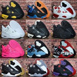 Massagem meninos negros on-line-Original JD 4s OG Gato Preto Tênis De Basquete Refletir Para crianças Meninos Meninas Esportes Treinamento Tênis Massagem Blackcat Big Kids Shoes 28-35