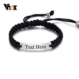 Geflochtene armbänder online-Vnox Handmade Braided Seil Armbänder für Männer Frau Anpassen Gravieren Namensschild ID Armband Länge Einstellbar