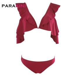 PARAKINI Completi bikini con balze rosse increspate da donna Stringate da bagno svegli con due pezzi da bagno 2019 Costumi da bagno da spiaggia per ragazze cheap two piece women swimwear red da due pezzi donne swimwear rosso fornitori