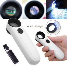 lupa jóia olho joalheria Desconto 40X Lupa Lupa Joalheiro De Vidro Olho Jóias Lupa Loop Hand Held Lupa Com 2 Luz LED