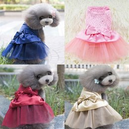 dogs tutu clothes Promo Codes - Pet Dog Puppy Bow Gauze Tutu Dress Skirts Cat Sequin Princess Clothes Apparel Spring And Autumn Pets Supplies 7 5ml UU