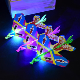 diy toy plane Coupons - DIY Cool Flash Ejection Cyclotron Light Plane Glowing Slingshot Aircraft For Kids Gift Flying Airplane Toys