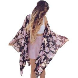 Argentina ISHOWTIENDA 2019 Mujeres Boho Estampado floral Gasa Chal flojo Kimono Cardigan Top Cover up Blusa #f Suministro