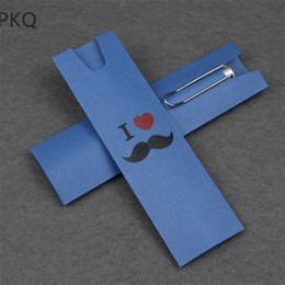 documenti di supporto natale Sconti 100pcs Blue Pen Paper Case Box Compleanno Festa di Natale Bomboniere Business Torna a scuola regalo scatola di immagazzinaggio penna
