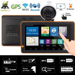 2019 gps grátis mapas wifi 9in Bluetooth Wi-fi Android Carro Navegador GPS de Visão Noturna 512 M + 16G GPS Navi Carregador de Carro FM Transmissor w / G-sensor Mapas Gratuitos gps grátis mapas wifi barato