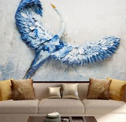 Murales blu fiore online-3d Papel Murales Pittura Blue Swan 3d Flower Wallpaper per Camera da letto Divano sfondo 3d Foto Murales 8d Adesivi 5d carta da parati