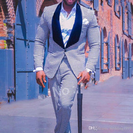 Argentina Tweed Blanco / Negro Traje de Fiesta para Hombres Compruebe hombres de la boda de Esmoquin Pantalones de Chaqueta de Dos Piezas Negro Chawl Lapel Por Encargo Masculino Blazer Suministro