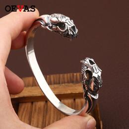 2019 sterling silber schädel NEU! Thai 925 Silber Tiger SKULL Armreif Vintage Sterling Silber Tiger Skeleton Armreif Man 100% Sterling Schmuck günstig sterling silber schädel