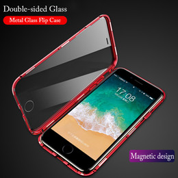 2021 iphone transparenter flip cover fall Magnetische doppelseitige gehärtete Glasabdeckung für iPhone 7 Case 360 ​​Ganzkörperschutz Metallmagnet Flip Case für iPhonex 7 8Plus rabatt iphone transparenter flip cover fall