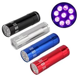 batteria ricaricabile ultrafire della torcia elettrica Sconti Portable 9 CREE luce LED UV torcia elettrica di campeggio d'escursione Torchlight Outdoor mini lampada No Batteria 4 colori