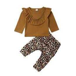 2019 chapéus bola de futebol 2pcs Infante recém-nascido Baby Girl Ruffle Pure Color Tops + Leopard Leggings Imprimir calças roupa Outfit Set Long Sleeve Outono 0-3Y