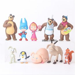 Masha giocattoli online-10 pezzi / set Russia Masha giocattolo Creativo bambola orso regalo per bambini MashaBear torta decorazione regalo per bambini