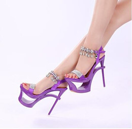 16 cm strass cristallo donne sandali piattaforma sexy fetish night club  signora partito scarpe tacchi estivi open toe modello stage show scarpa  viola scarpe ... 9f024bf15be