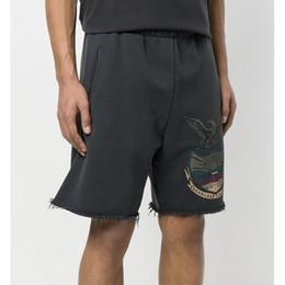 Pantalones cortos para hombre online-Season 5 Calabasas Terry Short Curling Eagle Shorts cortos Pantalones de diseñador para hombre Mujeres Parejas Hip Hop Streeet Pantalones cortos HFSSDK029