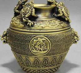 vaso ricchezza Sconti Rospo cinese in ottone dorato Rospo Bufonide Soldi Ricchezza Foo Dog Lion Head Vase Pot