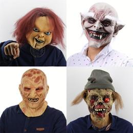 Filmes de terror on-line-Máscaras assustadores Dia das Bruxas Latex Chucky Film Prop rosto queimar Chapelaria Rotten Carne Zombies Máscara vendem bem 33 pés J1